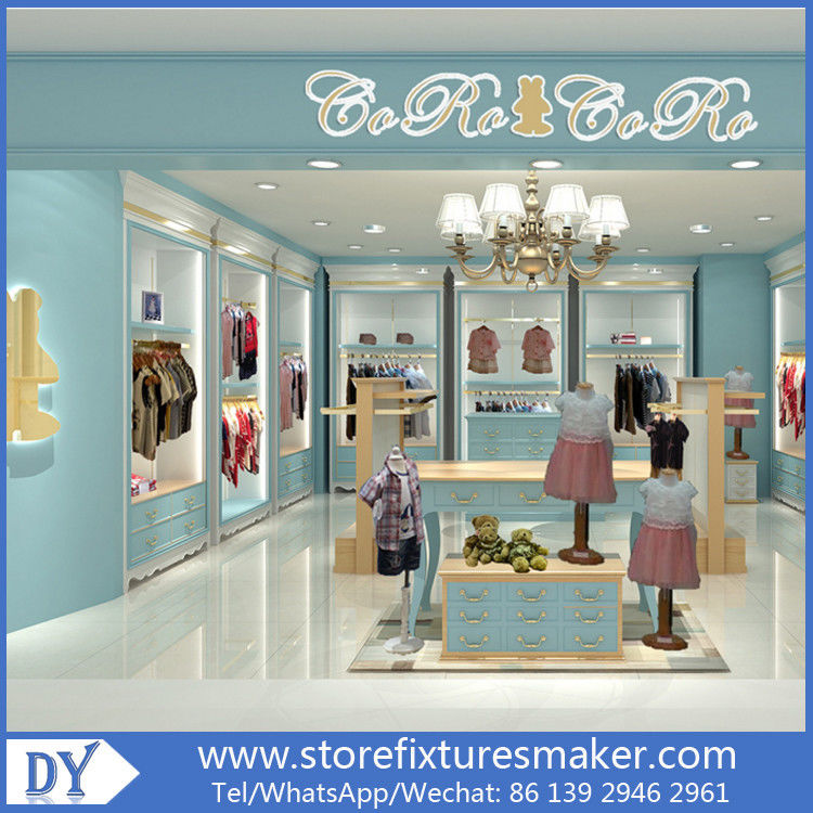 Custom nice fashion  design wooden lacquer Childrens Clothing Stores display showcase furniture  with good price आपूर्तिकर्ता