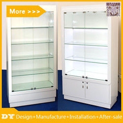 Customized good quality wall glass jewelry display shelves with lighting आपूर्तिकर्ता