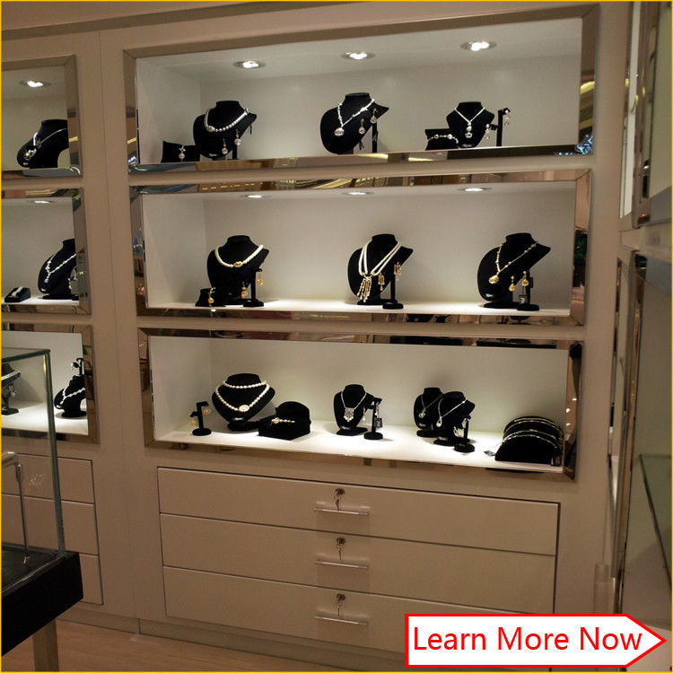 Modern glossy white commercial jewelry display shelves,wall mount jewelry showcase आपूर्तिकर्ता
