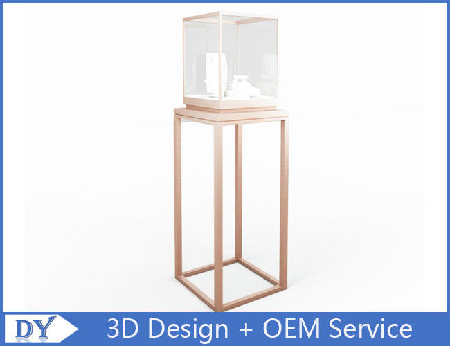 OEM manufacturing high end stainless steel museum pedestal display case with led spot lights आपूर्तिकर्ता