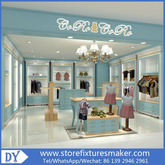 Custom nice fashion  design wooden lacquer Childrens Clothing Stores display showcase furniture  with good price